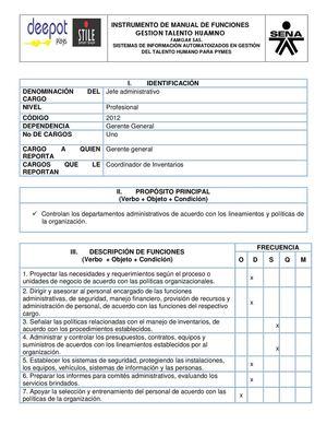 Calam o manual de funciones jefe administrativo for Manual de funciones y procedimientos de un restaurante