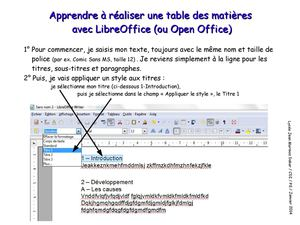 Calam o r aliser une table des mati res avec libreoffice - Realiser un organigramme open office ...