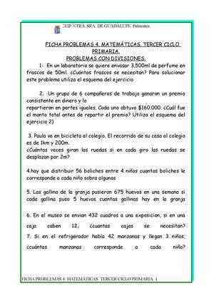 Calaméo - FICHAS PROBLEMAS 4. MATEMÁTICAS. TERCER CICLO
