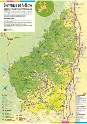 Ard che carte touristique voyages cartes - Office du tourisme ardeche nord ...