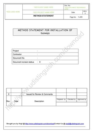 Method Statement For Installation Of Busway  Method Of Statement