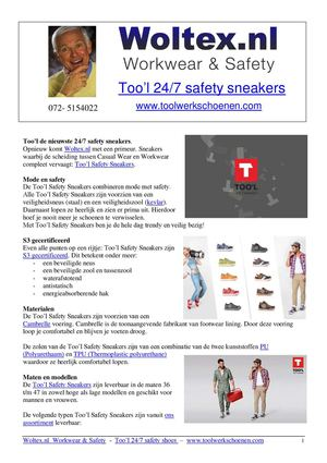 Too'l  24/7 Safety Sneakers -  Combining Comfort, Fashion and Safety