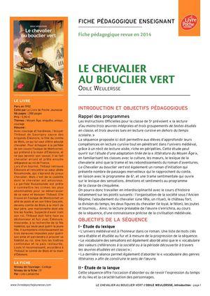 calam 233 o chevalier au bouclier vert ressource p 233 dagogique