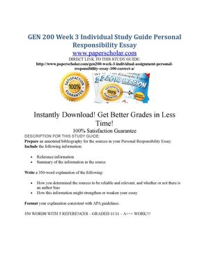 gen 200 personal responsibility essay Personal responsibility means being self-motivated and an autonomous   personal responsibility essay gen 200 – instructor: mrs cecelia weber due:.