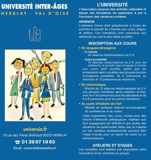 Herblay Les cours de l'Université inter Ages 2014