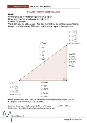 Retvinklet trekant formler