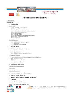 Calam o r glement int rieur du lyc e rosa luxemburg for Reglement interieur association sportive
