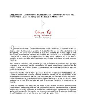Lacan Seminario 6 Clase16 No Hay Otro Del Otro