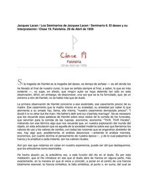 Lacan Seminario 6 Clase19 Falofahia