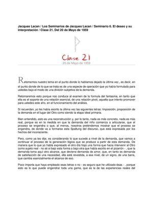 Lacan Seminario 6 Clase21