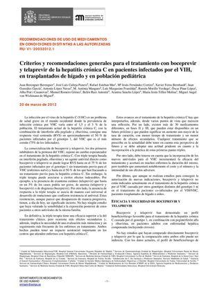 Criterios Y Rec Generales Para El Tratamiento Con Boceprevir Y Telaprevir De La Hep Crónica C En Pacientes Infectados Por El Vih En Trasplantados De Hígado Y En Población Pediátrica Aemps 3