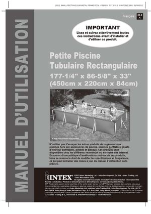 Calam o notice de montage piscine tubulaire intex metal for Petite piscine tubulaire rectangulaire