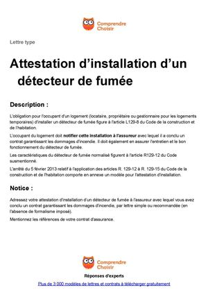 modele attestation locataire detecteur de fumee document online. Black Bedroom Furniture Sets. Home Design Ideas