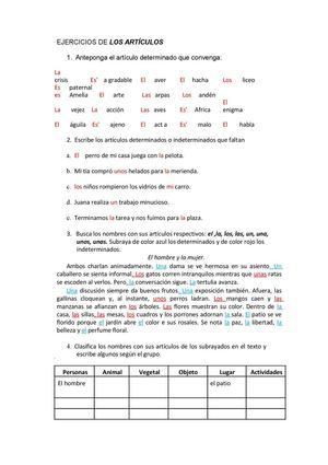 El articulo gramatica ejercicios
