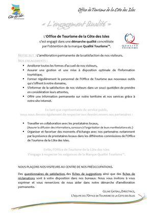 Calam o lettre d 39 engagement de l 39 office de tourisme de la c te des isles - Office tourisme cote d or ...