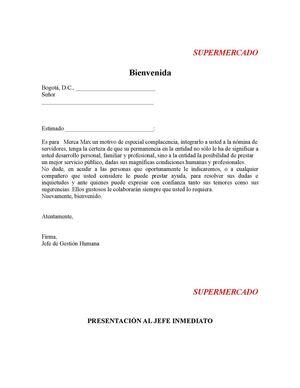 Carta bienvenida cliente nuevo