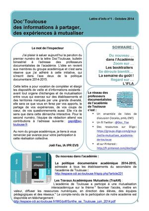 Lettre info Doc Toulouse N°1