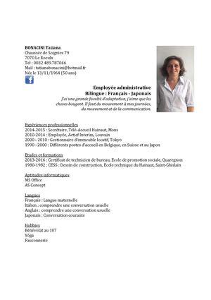Calam o cv bonacini tatiana 2015 employ e administrative - Offre d emploi femme de chambre bruxelles ...