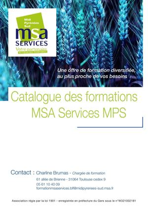 MSA SERVICES - Catalogue Formations 07 2015