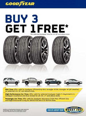 Buy a select set of 4 tires from Goodyear and get up to $ back in a mail in rebate when you use the Goodyear Credit Card. Restrictions apply. See site for full details. Offer valid thru 12/31/