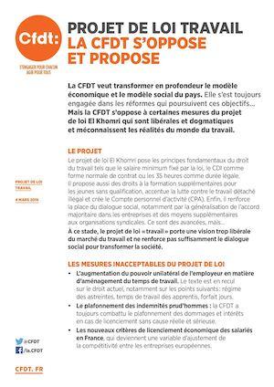 Tract Projet De Loi Travail La Cfdt Soppose Et Propose