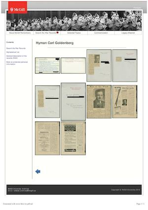McGill Remembers - Hyman Carl Goldenberg (Archives McGill.Ca Public Exhibits)