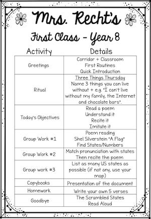 First Classes Schedule