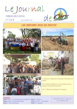 JOURNAL DE CERS - SEPTEMBRE 2016