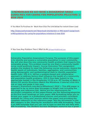 ccn nr 443 milestone 3 Nr 443 devry week 6 milestone 3 latest - duration: 0:09 education 16 views 0:09 child assessment a continual process (2672015) - duration: 0:50.