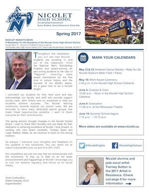 Nicolet High School District Spring Newsletter 2017