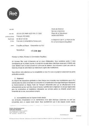 Courrier reçu le 15 juin 2017