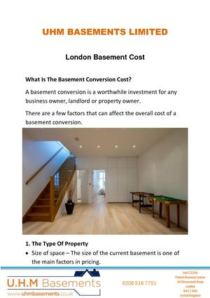 How Much Does A London Basement Cost?