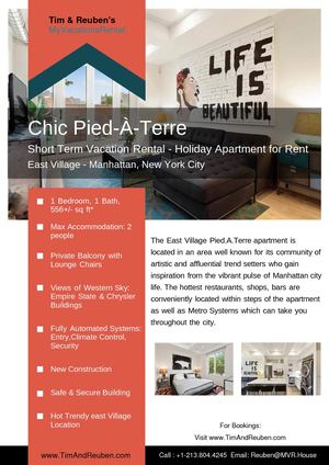 Calam o chic pied terre short term vacation rental for Pied a terre manhattan