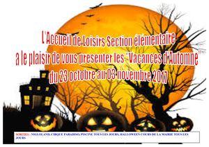 Programme des vacances d'automne à l'accueil de Loisirs / section élémentaire