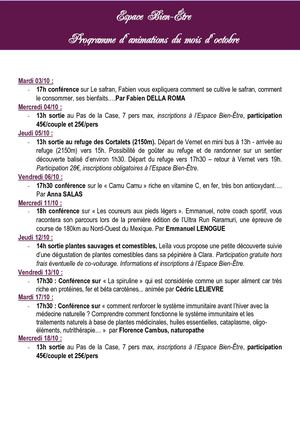 Programme d'animations Octobre 2017