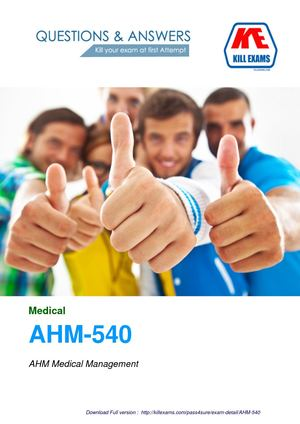 Medical AHM-540 Dumps and Practice Tests with Real Questions