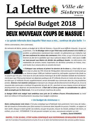 La lettre de Sisteron n°4 - mai 2018 (spécial budget)