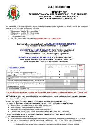 INSCRIPTIONS ANNEE 2018/2019
