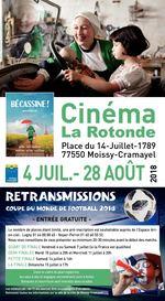 Cinéma La Rotonde Place du 14-Juillet-1789 77550 Moissy-Cramayel 4 JUIL.- 28 AOÛT 2018 RETRANSMISSIONS COUPE DU MONDE DE FOOTBALL 2018 - ENTRÉE GRATUITE - Le nombre de places étant limité, une pré-inscription est souhaitable auprès de l'Espace Arc- en-ciel : Lugny 01 64 88 88 45 - Noyer-Perrot 01 60 60 55 52 Nous vous conseillons de vous présenter au minimum 20-30 minutes avant le début des matchs. QUART DE FINALE Vendredi 6 ou Samedi 7 juillet (si la France est qualifiée) DEMI FINALES Mardi 10 juillet à 20h et Mercredi 11 juillet à 20h PETITE FINALE Samedi 14 juillet à 16h LA FINALE Dimanche 15 juillet à 17h Dans le cadre du plan vigipirate, les sacs à dos et bagages encombrants sont à éviter. Boissons et nourriture sont interdits dans la salle. Les mineurs de - de 12 ans devront être accompagnés d'un adulte. Retrouvez toutes les informations sur le site de la ville de Moissy-Cramayel.