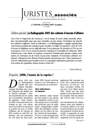 Radiographie des cabinets d'avocats 2007