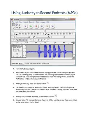 Using Audacity to Record Podcasts