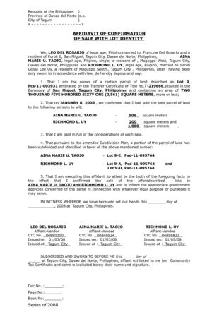 Affidavit of Confirmation of Sale with Lot