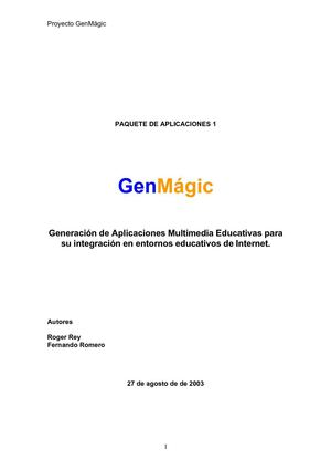 Aplicaciones Multimedia Educativas  GenMagic I