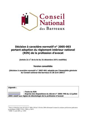 Avocats - Le Règlement Interieur National de la profession