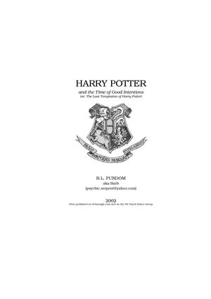 Fanfiction Harry Potter and the Time of Good Intentions (Book6)