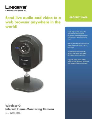 Linksys - IP Camera - WVC54GCA - Technical Specifications