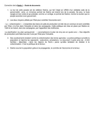 Correction de la partie 1 : étude de document