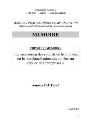 Calaméo Mémoire Sponsoring Sportif Master 2 Information