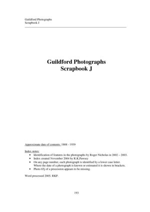 Guildford photographs 1868-1939: An index to Scrap book J in the Local Studies Collection of Guildford Institute