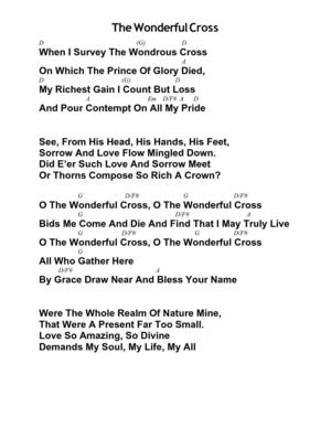 The Wonderful Cross by Chris Tomlin and Matt Redman - Chord Chart
